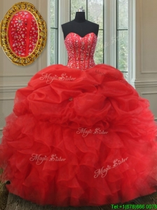 4e3fd9435b Elegant Visible Boning Bubble Quinceanera Dress with Beading and Ruffles