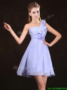 2017 Elegant Ruched and Ruffled Lavender Chiffon Dama Dress
