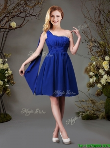 2017 Unique Beaded Top One Shoulder Dama Dress in Royal Blue