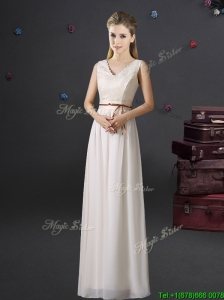 Cheap V Neck Belted and Laced Off White Prom Dress in Chiffon