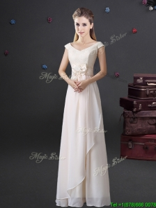 Hot Sale Bowknot and Laced Long Dama Dress with Cap Sleeves