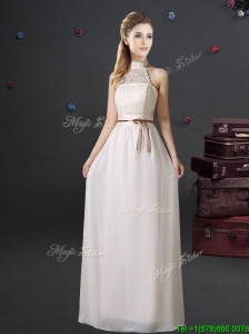 Luxurious Laced and Belted Prom Dress with Halter Top