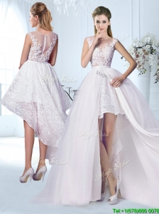 Cheap Applique and Laced Wedding Dress with Detachable Skirt