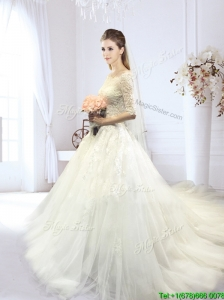 Exquisite Off the Shoulder Court Train Wedding Dress with Half Sleeves
