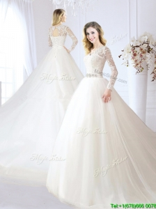 Pretty V Neck Beaded and Laced Wedding Dress with Chapel Train