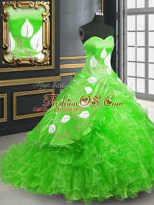 Modern Green Sweetheart Neckline Embroidery Sweet 16 Dresses Sleeveless Lace Up