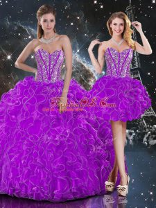 Sweetheart Sleeveless Lace Up Quince Ball Gowns Purple Organza