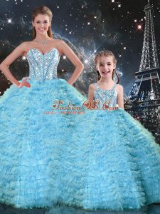 Sleeveless Tulle Floor Length Lace Up Ball Gown Prom Dress in Light Blue with Beading and Ruffles