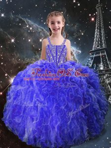 Sleeveless Beading and Ruffles Lace Up Child Pageant Dress