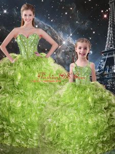 Super Olive Green 15th Birthday Dress Military Ball and Sweet 16 and Quinceanera with Beading and Ruffles Sweetheart Sleeveless Lace Up
