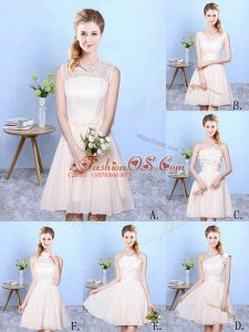 Fashion One Shoulder Sleeveless Wedding Guest Dresses Knee Length Lace Champagne Chiffon