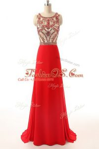 New Arrival Red Prom Evening Gown Prom and Party with Beading Scoop Sleeveless Brush Train Side Zipper