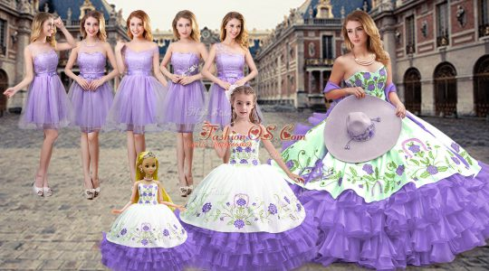 Excellent Lavender Sweetheart Neckline Embroidery and Ruffled Layers Quinceanera Gowns Sleeveless Lace Up