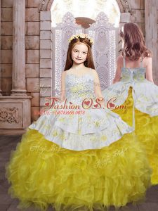 Organza Sleeveless Pageant Gowns For Girls Brush Train and Embroidery and Ruffles