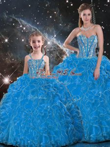 Dazzling Baby Blue Sweetheart Lace Up Beading and Ruffles Sweet 16 Dress Sleeveless