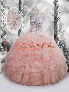 Latest Baby Pink Organza Lace Up Scoop Sleeveless Floor Length Quinceanera Dresses Beading and Ruffles