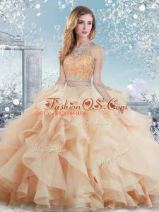 Sophisticated Ball Gowns 15 Quinceanera Dress Peach Scoop Organza Sleeveless Floor Length Clasp Handle