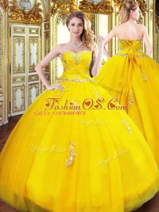Gold Tulle Lace Up Sweetheart Sleeveless Floor Length Quinceanera Gowns Beading and Appliques