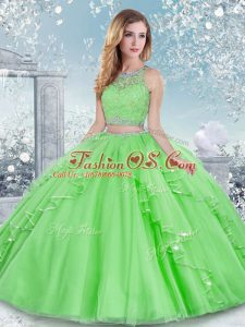 High End Quinceanera Dress Military Ball and Sweet 16 and Quinceanera with Beading and Lace Scoop Sleeveless Clasp Handle