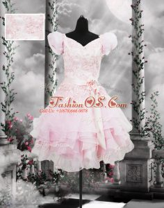 Baby Pink Organza Lace Up Dress for Prom Short Sleeves Knee Length Beading and Appliques and Ruffles and Hand Made Flower