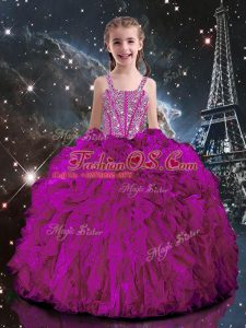 Custom Fit Straps Short Sleeves Kids Pageant Dress Floor Length Beading and Ruffles Fuchsia Organza