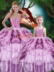 Best Selling Sleeveless Beading and Ruffles and Ruffled Layers Lace Up Quinceanera Gowns