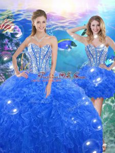 Excellent Floor Length Royal Blue 15 Quinceanera Dress Organza Sleeveless Beading and Ruffles