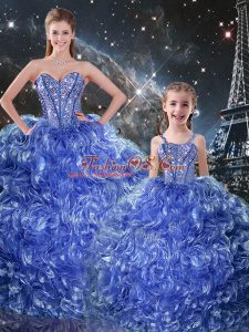 Blue Sleeveless Organza Lace Up Sweet 16 Dresses for Military Ball and Sweet 16 and Quinceanera