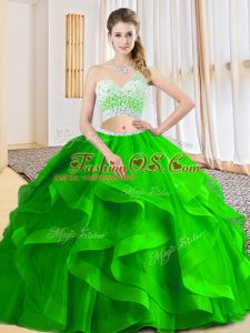Criss Cross Ball Gown Prom Dress Beading and Ruffled Layers Sleeveless Floor Length