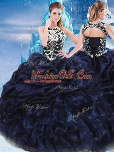 Glittering Navy Blue Sleeveless Floor Length Appliques and Ruffles and Pick Ups Lace Up Sweet 16 Dresses