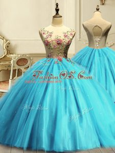 Ball Gowns Quinceanera Dresses Aqua Blue Scoop Tulle Sleeveless Floor Length Lace Up