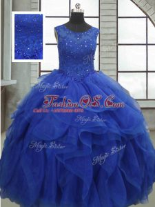 Sleeveless Floor Length Ruffles and Sequins Lace Up Quinceanera Dresses with Royal Blue