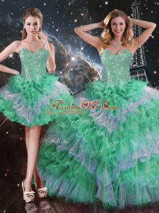 Gorgeous Floor Length Multi-color 15th Birthday Dress Sleeveless Lace Up