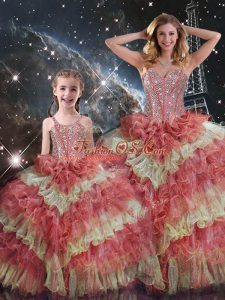 Popular Floor Length Ball Gowns Sleeveless Multi-color Quinceanera Gowns Lace Up