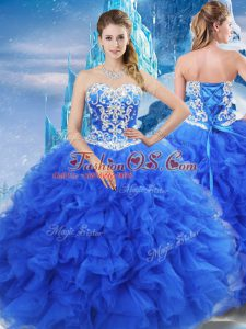 Organza Sweetheart Sleeveless Lace Up Beading and Ruffles Sweet 16 Dresses in Blue