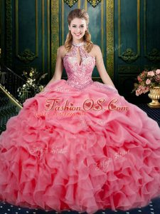 Discount Beading and Ruffles and Pick Ups Sweet 16 Dresses Watermelon Red Lace Up Sleeveless Floor Length