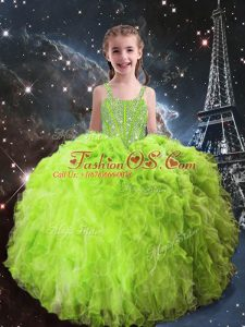 Most Popular Straps Sleeveless Little Girl Pageant Dress Floor Length Beading and Ruffles Organza