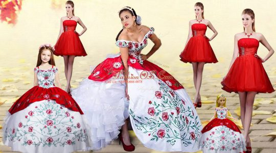 Dazzling White And Red Off The Shoulder Lace Up Embroidery and Ruffled Layers Quinceanera Gown Brush Train Sleeveless