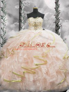 Customized Sweetheart Sleeveless Quinceanera Dresses Brush Train Beading and Ruffles Peach Organza