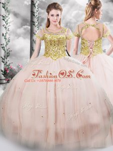 Pink Ball Gowns Beading Quince Ball Gowns Lace Up Tulle Short Sleeves Floor Length