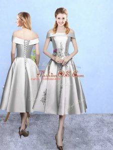 Tea Length Silver Quinceanera Court Dresses Off The Shoulder Sleeveless Lace Up