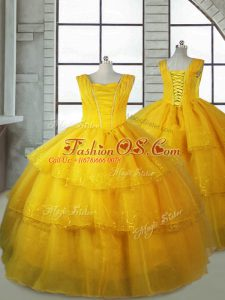 Sleeveless Lace Up Floor Length Ruffled Layers Little Girl Pageant Dress