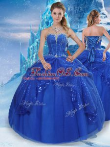 Glamorous Royal Blue Tulle Lace Up Quinceanera Dresses Sleeveless Floor Length Beading and Pick Ups