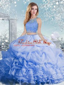 Flirting Baby Blue Sleeveless Floor Length Beading and Ruffles and Pick Ups Clasp Handle Quince Ball Gowns