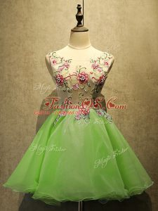 Organza Lace Up Scoop Sleeveless Mini Length Prom Gown Embroidery