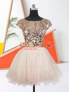 Scoop Short Sleeves Prom Party Dress Mini Length Sequins Peach Organza