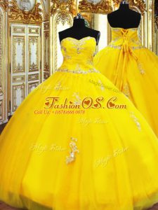 Elegant Floor Length Lace Up Quinceanera Dress Gold for Military Ball and Sweet 16 and Quinceanera with Beading and Appliques