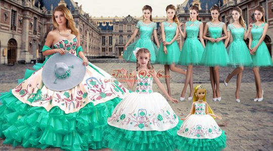 High Class Turquoise Sleeveless Organza Lace Up Sweet 16 Dresses for Military Ball and Sweet 16 and Quinceanera