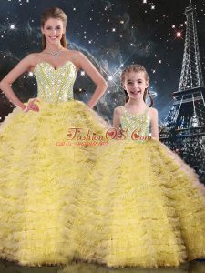 Pretty Yellow Tulle Lace Up Sweetheart Sleeveless Floor Length 15th Birthday Dress Beading and Ruffles