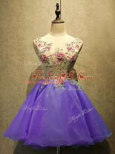 Sexy Mini Length Purple Prom Gown Scoop Sleeveless Lace Up